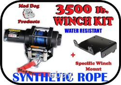 3500lb Mad Dog Synthetic Winch/Mount Kit for 2016-2021 Polaris Sportsman 450