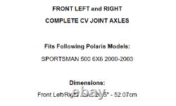 Front Left And Right CV Joint Axles for Polaris Sportsman 500 6X6 2000-2003