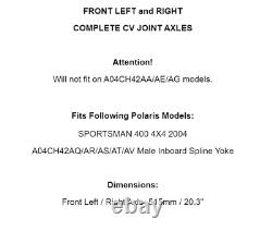 Front Left And Right Complete CV Joint Axles for Polaris Sportsman 400 4X4 2004