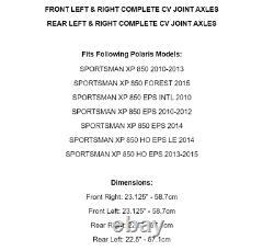 Front Rear Left Right Axles for Polaris Sportsman XP 850 Eps 2010-2015