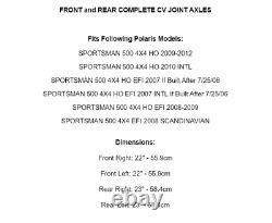 Front Rear Left Right CV Joint Axles for Polaris Sportsman 500 4X4 HO EFI 07-12