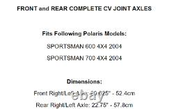 Front Rear Left Right CV Joint Axles for Polaris Sportsman 600 700 2004