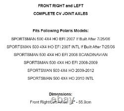 Front Right And Left CV Joint Axles for Polaris Sportsman 500 4X4 HO EFI 07-12