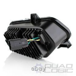 Polaris Scrambler RZR Sportsman Ranger Black LED Headlights with Adapter Harnesses