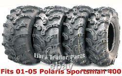 01-05 Polaris Sportsman 400 Ensemble Complet Pneus Vtt 25x8-12 & 25x11-10 Mud Premium