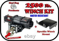 2500lb Mad Dog Winch Mont Combo Vtt Polaris Sportsman 11-21 400 450 500 570 800