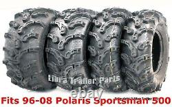 96-08 Polaris Sportsman 500 Ensemble Complet Pneus Vtt 25x8-12 & 25x11-10 Boue Haut De Gamme