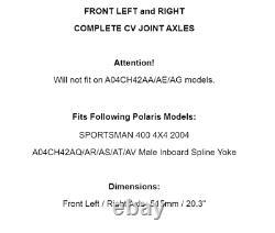 Avant Gauche Et Droite Complet CV Joint Axes Pour Polaris Sportsman 400 4x4 2004