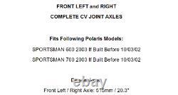 Avant Gauche Et Droite Complet CV Joint Axes Pour Polaris Sportsman 600 700 2003