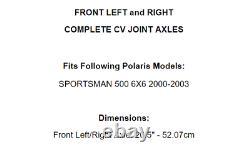 Axes Avant Gauche Et Droite CV Pour Polaris Sportsman 500 6x6 2000-2003