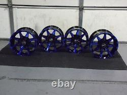 Polaris Sportsman 450 14 Sti Hd6 Blue Atv Wheels Set 4 Garantie À Vie Pol3ca