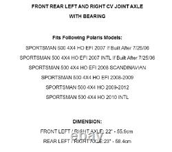 Roulement Avant Arrière Gauche Droite CV Pour Polaris Sportsman 500 Ho 07-12