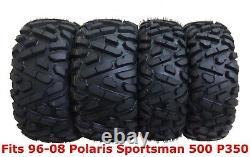 Set 4 Pneus De Vtt Wanda 25x8-12 & 25x11-10 Pour 96-08 Polaris Sportsman 500 P350